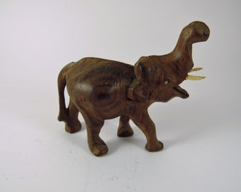 Vintage Hand Carved Wooden Elephant