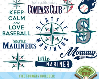 Seattle Mariners SVG files, baseball designs contains dxf, eps, svg, jpg, png and pdf files. PB-023