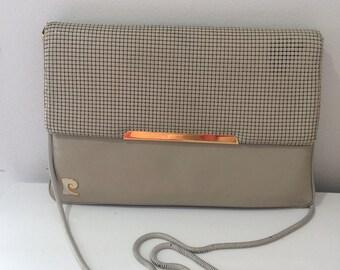 Pierre Cardin fawn leather Glomesh handbag
