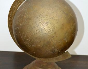 Vintage Brass World Globe
