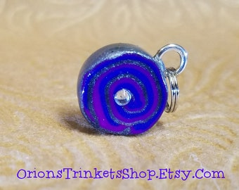 Handmade Polymer Clay Charms- Whimsical Swirl, purple, blue, bracelet, birthday, gift, cute, bangle, decor, accessory, jewelry, present