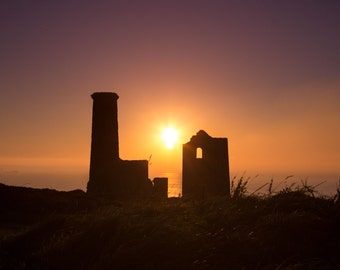 Architectural print, architecture photography, Wall art print, Fine art photography print. 'Wheal Coates sunset', St Agnes, Cornwall