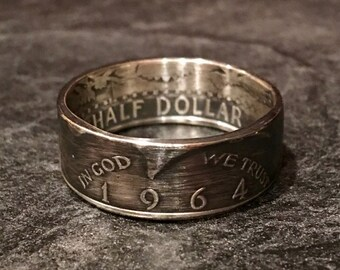 1964 Kennedy Half Dollar Ring - 90% Silver (Heads Out)