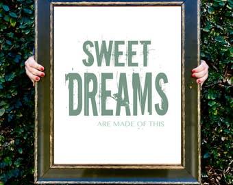 Wall art print, sweet dreams, nursery, decor