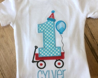 Little red wagon birthday shirt