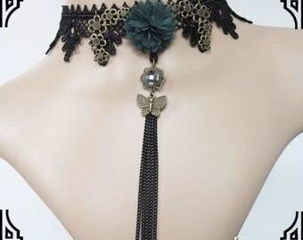 Victorian Black Lace Choker/Tassel Necklace/Romantic Necklace/Women Charm Choker/Vampire Necklace/Gothic Choker/Masquerade Necklace LN-01-BL