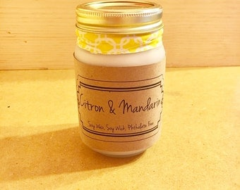 Best Soy Candle / Mason Jar Candle / Best Soy Candles / Citron & Mandarin / Mason Jar Candles / Housewarming Gift / Home Decor/Birthday Gift
