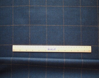 PURE WOOL Fabric by the Yard Prince of Wales Check Navy Blue