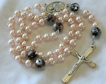 Pink Pearl and Black Rosary