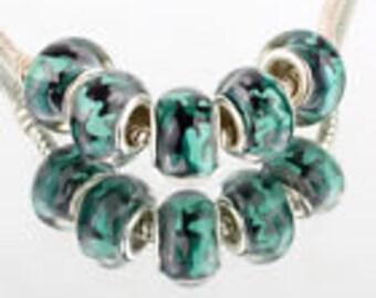 Set of 5 Camo Glass Beads Fit European Charm Bracelets