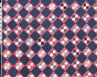 Four Patch Vintage Quilt/ Blue Background, Antique Double Bed Size, Traditional Patchwork Quilt  #17441