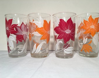 Vintage Glassware Orange & Red Flowers