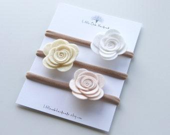 Set of 3 Wool Felt Flower Headband - White, Custard, Rose Beige - Baby Headband - Nylon Headband