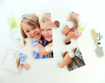 Wood Jigsaw Puzzles Fridge Magnet Set: Handmade and Personalized With Your Picture - Made Using Birch Plywood