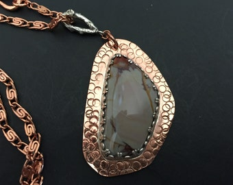 Hand Crafted Copper and Morrisonite Pendant on Copper Chain