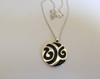 Silver and Black Abstract Pendant Necklace