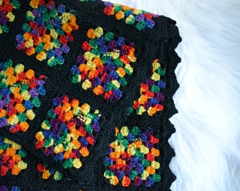 Vintage Crochet Granny Square Afgan Black/Rainbow/multicolor/bohemian/eclectic throw blanket