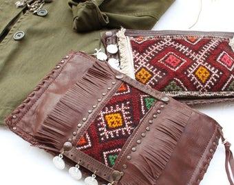 LUNJA pouch leather fringed Kilim Berber Boho Festival Rock Bohemian chic ethnic