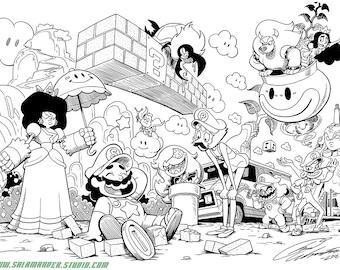 Super Steven Bros - Black and White Art Print - 11 x 17 inch