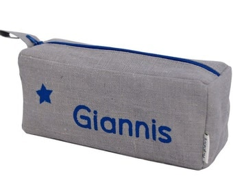 Blue pencil case with star pattern