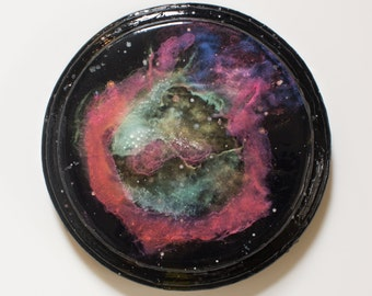 Wood Plaque Glow-in-the-Dark Nebula Painting