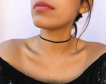 Delicate thin black choker/Simple black chokers/black leather choker/one layer choker/small choker/think black chokers/chokers for women