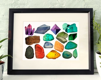 Crystals and Gemstones poster , A3 and A4 art print, Precious stones, mineral illustration