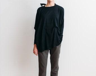 SALE -20% black oversized jersey/ black oversized top/ plus size tunic