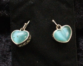 PE # 105 Valentine's Day Vintage Silver Tone Light Blue Heart Shaped Earrings