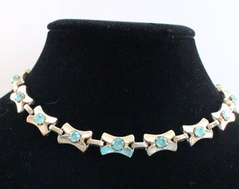 BNN # 22 Signed Barclay Gold Tone and Blue Crystal Rhinestone Choker Necklace Mod or Art Deco Look