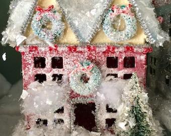 Christmas Glitter House, Christmas House Putz Style, Putz House, Miniature House, Christmas Ornaments, Christmas Village, Christmas Decor