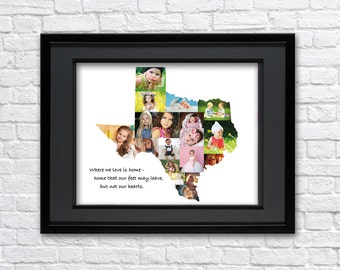 Digital File-Texas state photo collage-Any state photo collage-Photo collage-United states picture collage-Texas map-States photo collage
