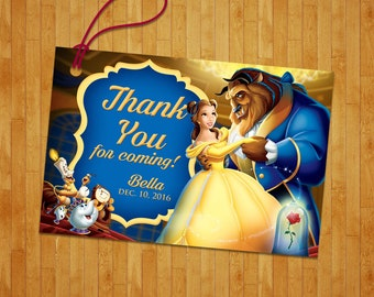 Beauty and the Beast thank you tag, Beauty and the Beast tag, Beauty and the Beast favor tag, PERSONALIZED TAG