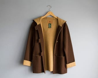Vintage Rare Ralph Lauren Wool Peacoat | Deadstock hooded coat with toggles | Vintage brown cardigan sweater |  Womans wool duffel coat