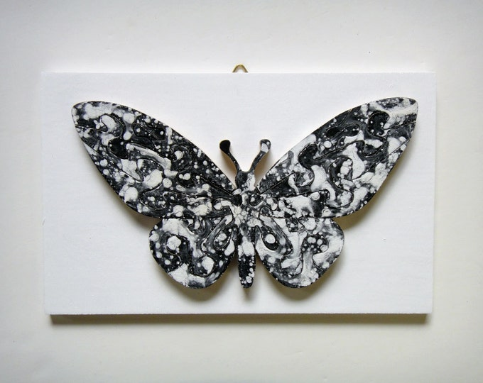Puzzle Butterfly - black & white, stylish wooden hand-cut, acrylic on wood pieces, ready to hang, Puzzle-Art by Samo Svete