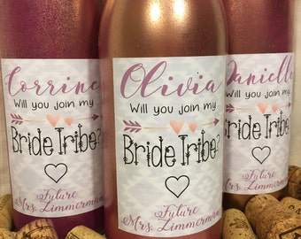 Bridesmaid Proposal | Custom Wine Bottle Labels | Join my Bride Tribe | Aztec Print | Love, Future Mrs.