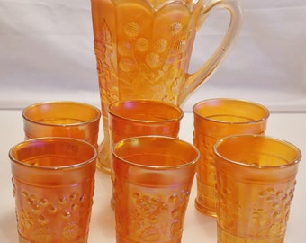 complete 7 piece Northwood Carnival Glass marigold water set