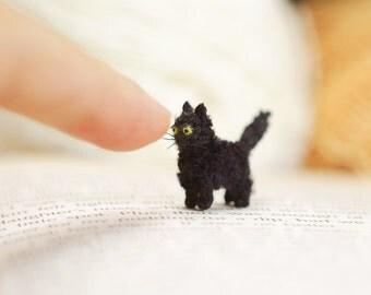 Miniature Black Cat , crochet cat, amigurumi tiny crochet cat