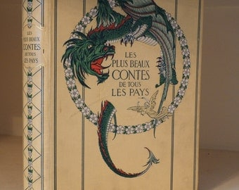 Vintage / Antique book. French fairytales. Colour printed plates (Illustrations) in striking art nouveau style. (1911)