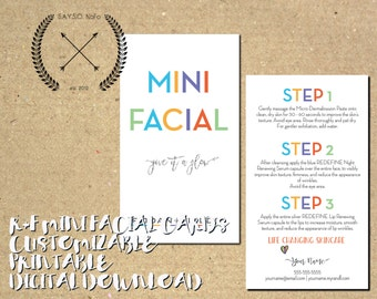 rodan + fields - custom mini facial cards - business materials - give it a glow - download - printable