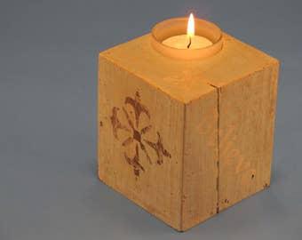 "Wood Single Tea Light Candle Holder ""Believe"""
