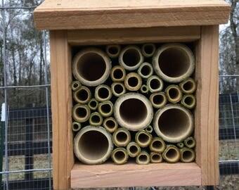 Mason Bee House - Cedar and Bamboo
