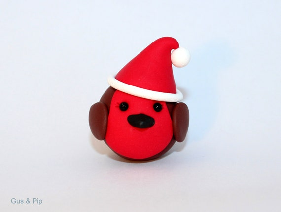 Cute little Christmas Robin Ornament/ Sculpture/ Cake Topper