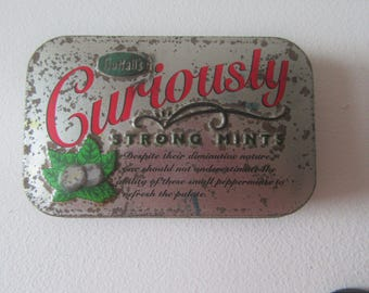 FIVER FRIDAY Nuttalls curiously strong mints tin vintage antique advertising collectible tin England brand sweets mints mintoes