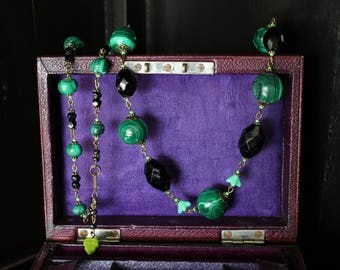 Malachite and Black Glass Long Beads Vintage Unique Handmade UpcycledAntique Downton Abbey
