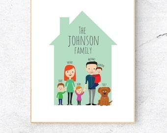 Family Illustration print, Family drawing art, Personalised family art