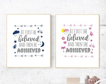 Print for boys or girls room, At first he achieved print, At first she achieved print, inspirational quote print for boys or girls room