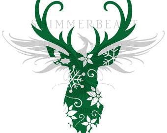 Christmas SVG Cut File | Floral Christmas Deer svg | Deer head svg svg | Deer svg | Christmas SVG design | Christmas SVG sayings | Antlers