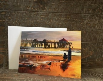 Pier at Sunset - Blank note cards with envelopes, Handmade note cards, Greeting cards