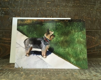 Note Card -- Yorkie Standing